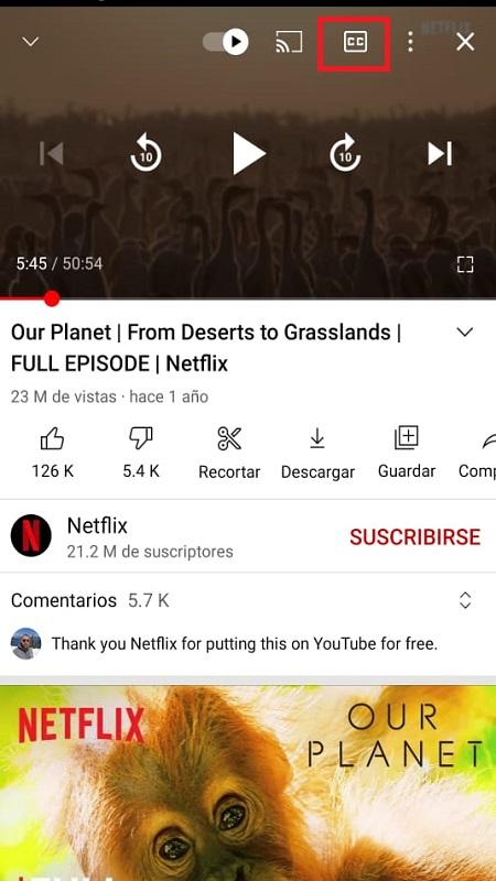Activar y Desactivar Subtítulos en YouTube desde el Celular