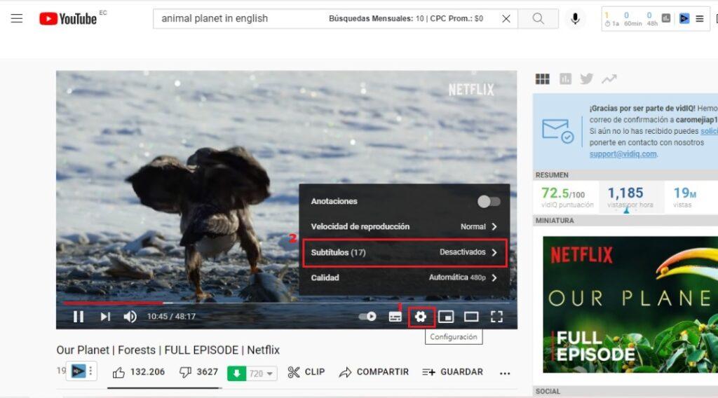 Activar y Desactivar los Subtítulos de YouTube en el Ordenador