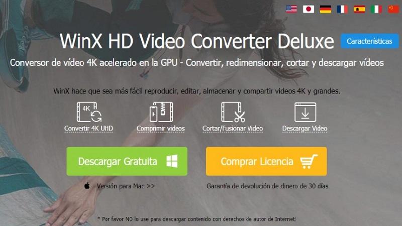 WinX HD Video Converter Deluxe el mejor programa pagado para comprimir videos